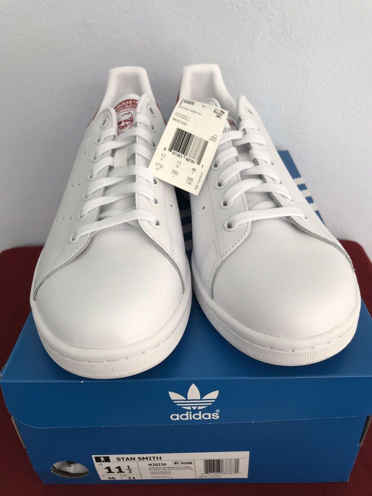 Mens Adidas Stan Smith M20326 White Red BNIB Size 11 1 2 Free Shipping
