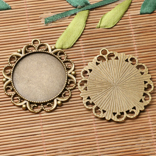 3pcs antiqued bronze color floral rim  round cabochon setting in 30mm EF3050