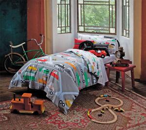 KAS-Kids-Road-Train-100-Cotton-Cars-Double-Bed-Quilt-Duvet-Cover-amp-Cushion-Set
