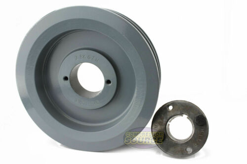 """Cast Iron 6.5/"""" 2 Groove Dual Belt B Section 5L Pulley with 1-3//8/""""Sheave Bushing"""