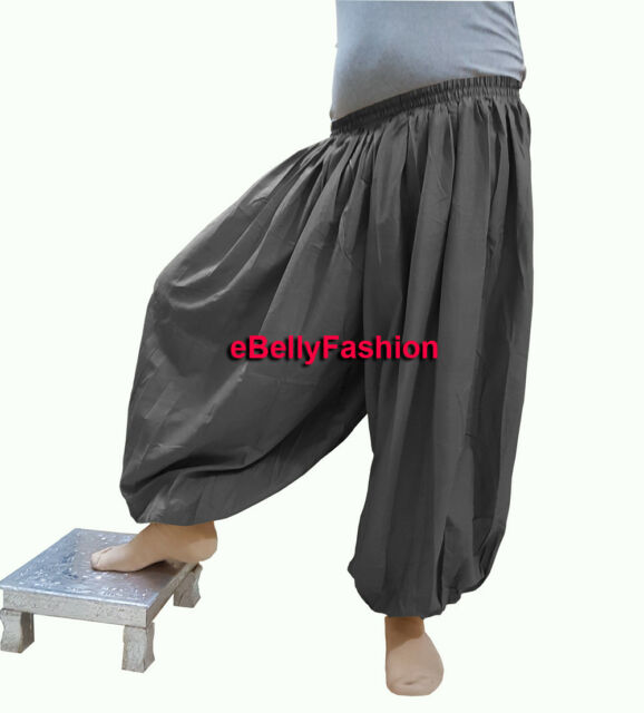 Black Harem Pant Satin Belly Dance Yoga Pantaloons Aladdin Baggy Halloween