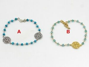 Apatite-Turquoise-Beads-Gemstone-Gold-Plated-Gift-Bracelet-925-Sterling-Silver