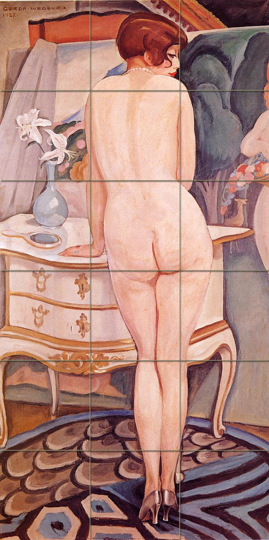 18 x 36 Ceramic Mural Nude Model Art Gerda Wegener Deco Bath Tile  46