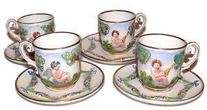Capodimonte-Italy-Cherubs-Teacups-Cups-Saucers-Antique-Set-of-4