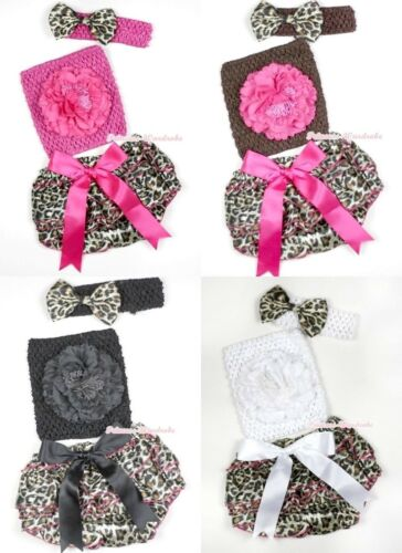 Baby Leopard Print Girl Bloomer Pantie Crochet Tube Top Headband 3P Set NB-3Year