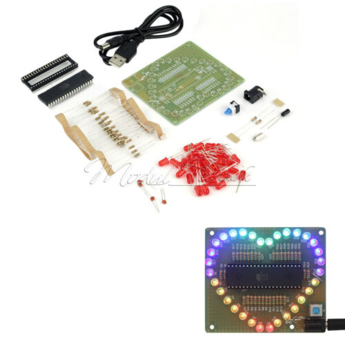 New DIY Kit Heart shaped LED Red Blue Colorful Light Water Electronic R3