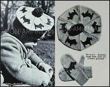 VINTAGE 1940s Knitting Pattern • CHILDS SCOTTIE DOG FAIRISLE BERET & MITTENS