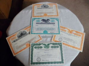 Canceled-Stock-Certifacates-Lot-of-5-Commonwealth-Oil-Refining-Co-US-Gypsum-Co