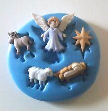 Navidad Natividad Silicona Molde Estrella Ángel bebé Jesús Glaseado Tarta Decorar fimo