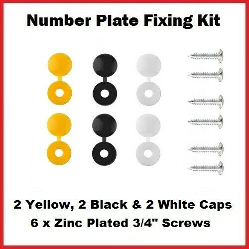 3 Assorted Colours 12 Piece Caps and Screws Car Number Plate Fixing Fitting Kit