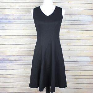 Cabi-3649-Ponte-Knit-Performance-Sleeveless-A-Line-Dress-Black-V-Neck-Size-XS