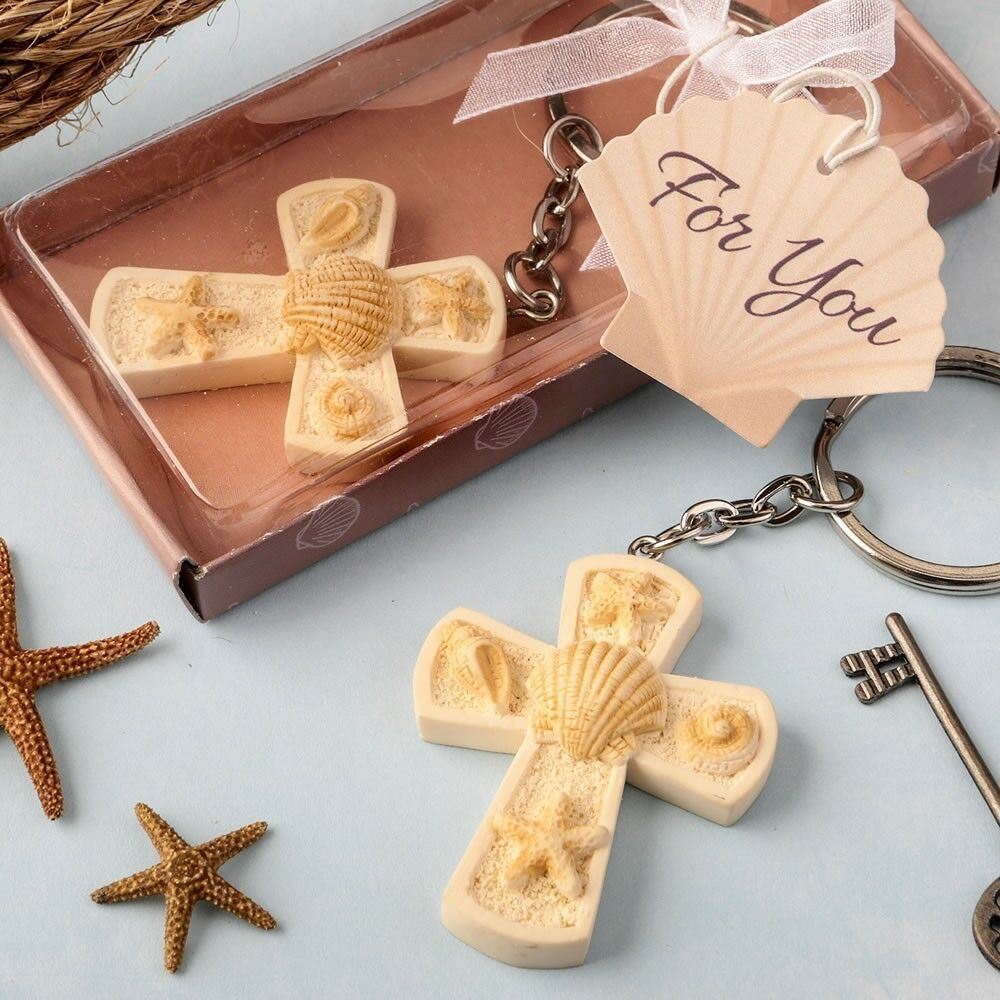 75 Beach Cross Keychain Christening Wedding Baby Shower Religious Party Favors