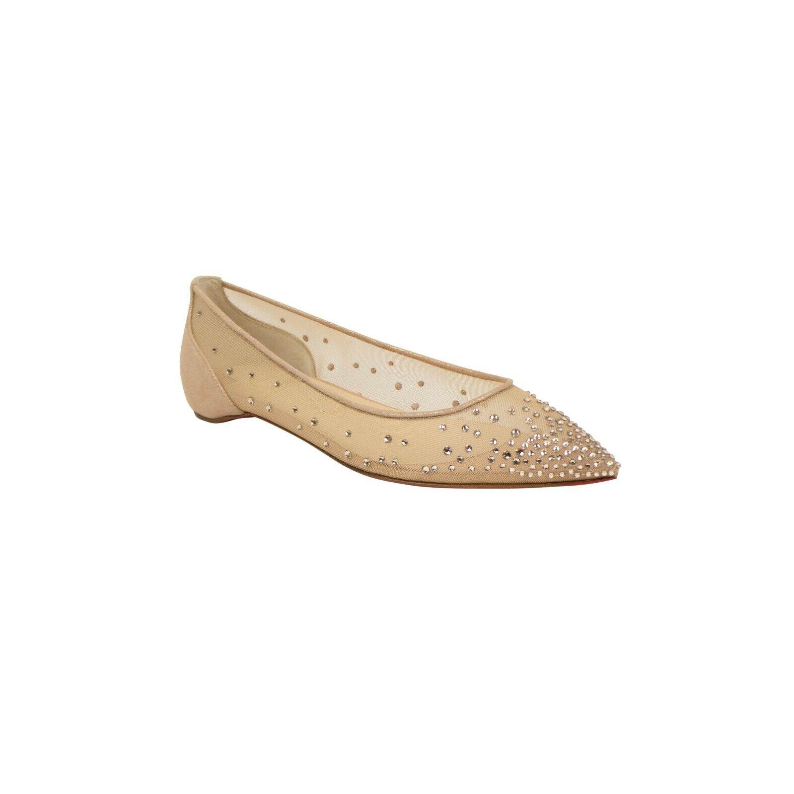 Nuevo En Caja Christian Louboutin Beige 'Follies Strass's Flats zapatos 5 35  995
