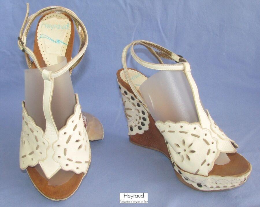 HEYRAUD - & BACKLESS SHOE SOLE wedge & - PLATEAU WOOD LEATHER cream 39 - MINT 02d9b3