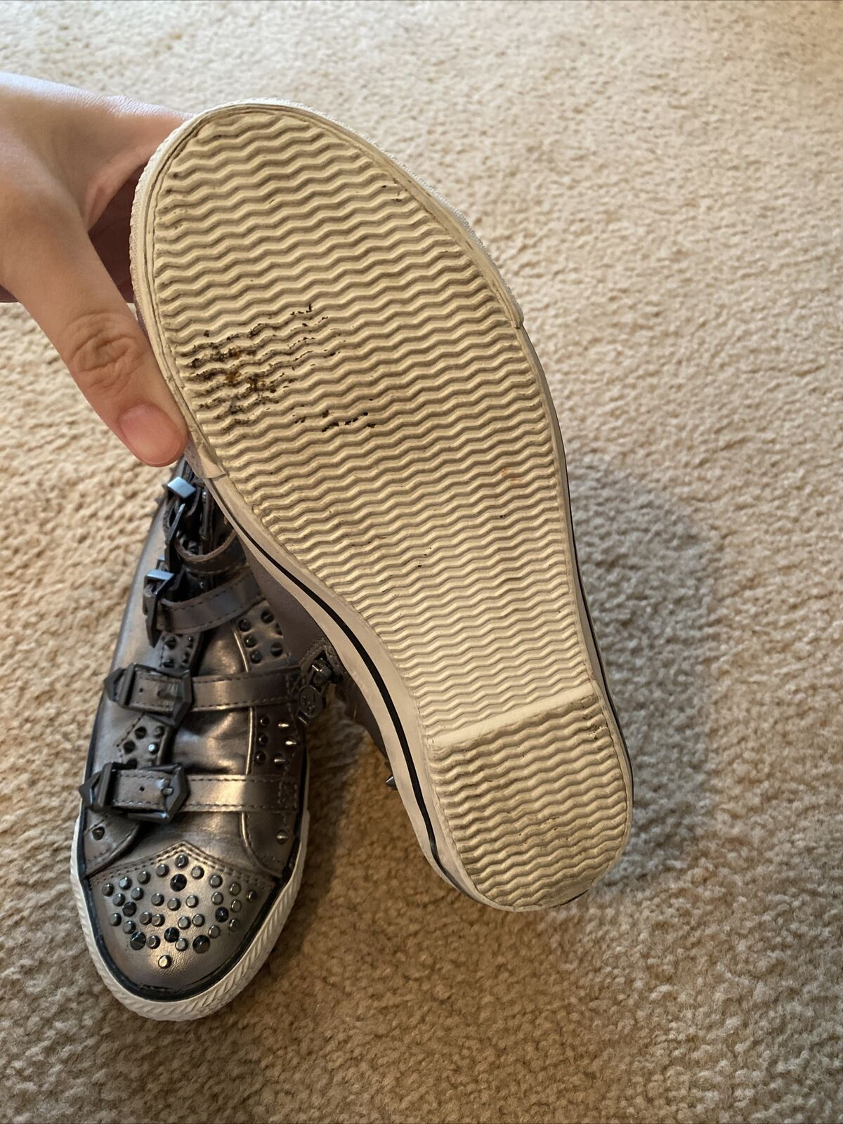 Ash Perforated Sneakers Womens Silver color 37