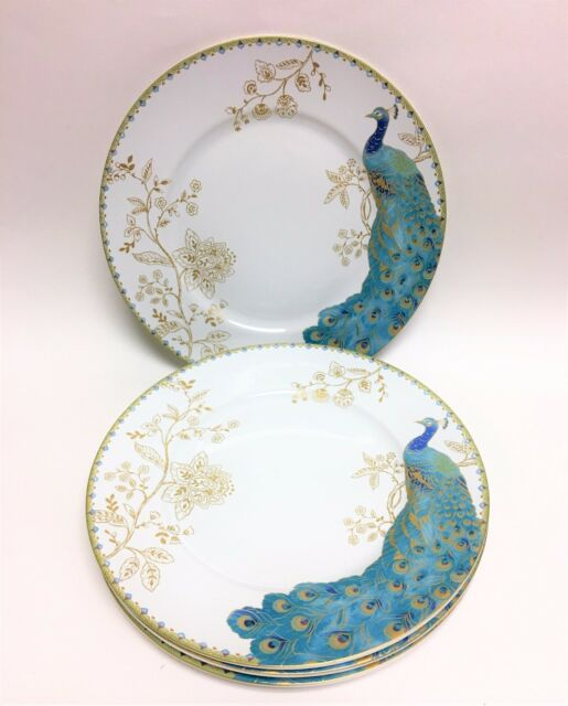 NEW SET OF 4 222 FIFTH TURQUOISE BLUE PEACOCKGARDENGOLD FLORAL DINNER PLATES & 222 Fifth Peacock Garden Dinner Plates Set of 4 | eBay