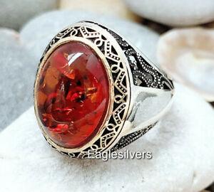 Shia Ahlulbayt Sterling Silver Panjtan Islam Moslem Amber Stone Men Woman Ring
