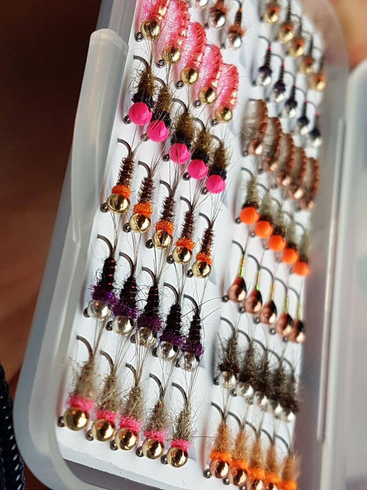 Tungsten River Nymphs Size 16 Jig Hooks 3mm Beads X 70
