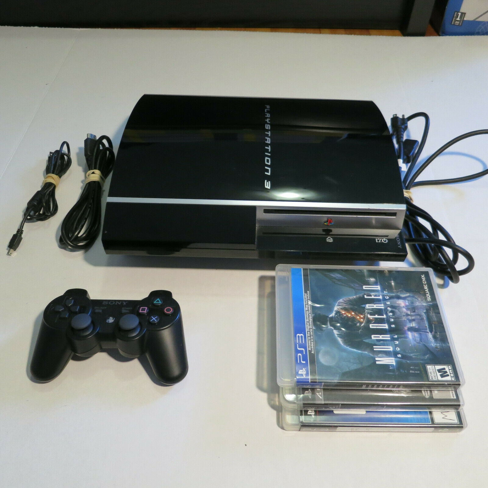 Sony Playstation 3 PS3 Fat 80GB CECHK01 Bundle w/ 3 Games, TESTED
