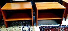 Pair Mid Century Danish Modern Open Teak Cabinets or Media Consoles