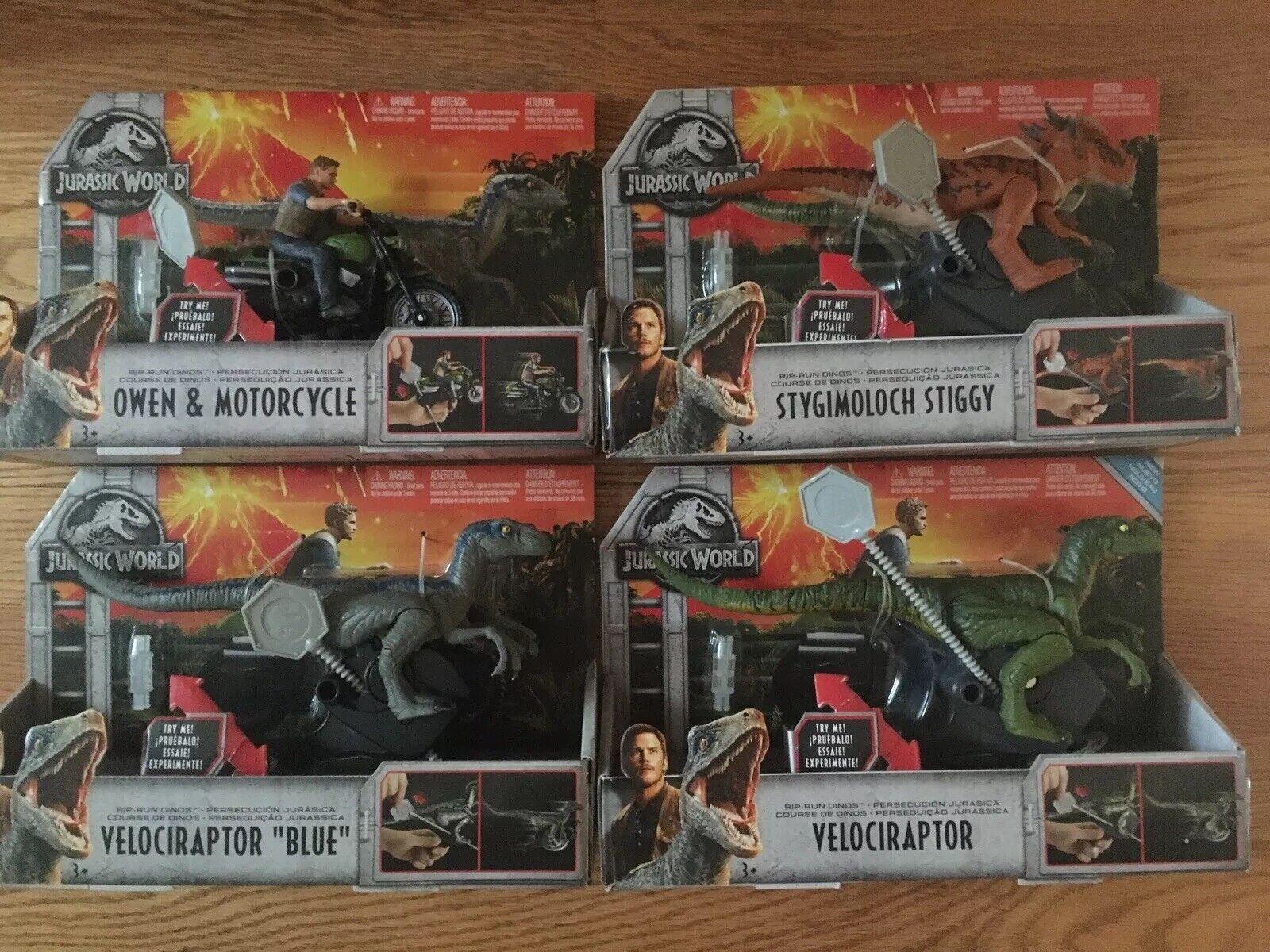 RARE  completare SET- 4 Sets Of  Jurassic World Rip correre Dinos  consegna e reso gratuiti