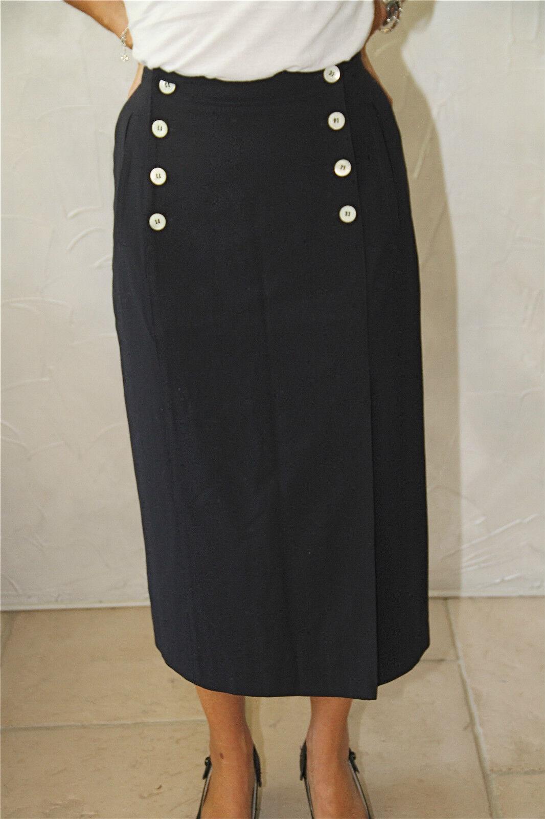 Lujosa falda falda talle alto de lana marina INFINITIF tamaño 36-38