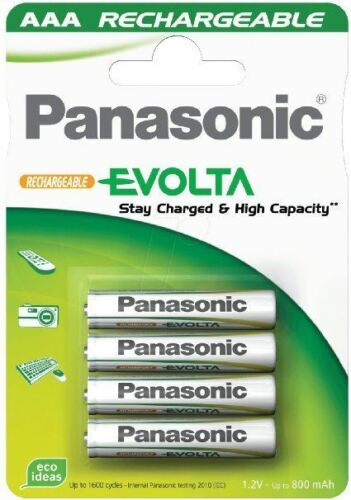 Pilas recargables NiMH AAA hasta 750mAh Panasonic Evolta 4 un nuevo