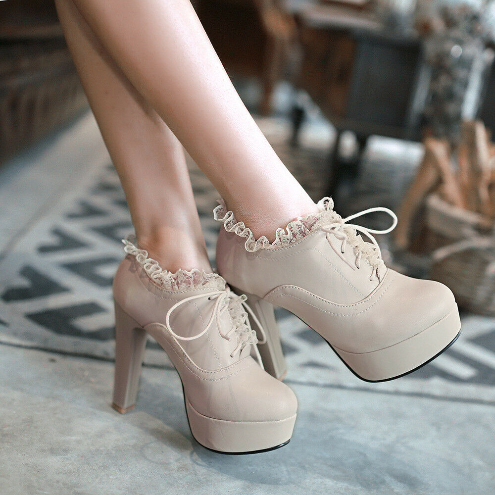 WomensPlatform High Heel Lolita Goth Lace Up Round Toe Ankle Boot shoes Stiletto