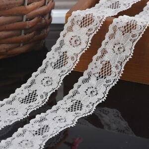 5Yards-3cm-NEW-White-Elastic-Lace-Trim-Ribbon-Fabric-Decor-Crafts-Sewing-DIY