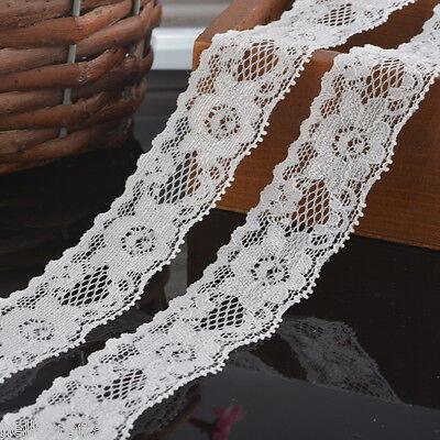 5Yards 3cm NEW White Elastic Lace Trim Ribbon Fabric Decor Crafts Sewing DIY