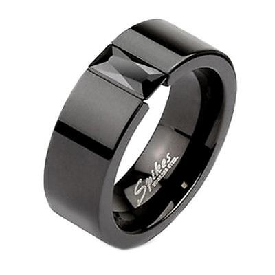 Mens Womens Black Cubic Zirconia Simulated Onyx His Hers 6mm Wedding Band Ring