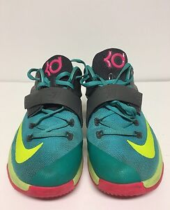 95d792930afa Nike KD 7 GS Size 7Y Hyper Jade Volt Pink Basketball Shoes