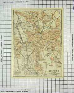 Original-Old-Antique-Print-Map-Germany-Street-Plan-Leipzig-Schonefled