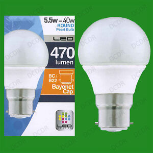BC B22 Lamp Instant On 10x 5.5W LED Ultra Low Energy Pearl Candle Light Bulbs