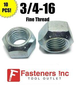"""3//4/""""-16 Nylon Insert Hex Lock Nuts Grade 2 Zinc Plated Steel Qty 10"""