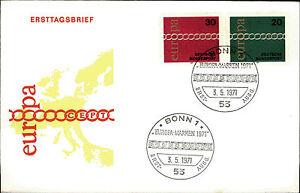 Ersttagsbrief-1971-Erstausgabe-FDC-Stempel-von-Bonn-Europa-Marken-20-30-Pfennig