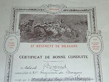 1922 brigade BEZARD 21eme regiment dragons CERTIFICAT de CONDUITE SOLDAT ARMEE