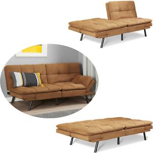 Memory Foam Suede Fabric Futon Sofa Mainstays Bed Winged Armrest Wood Foldable