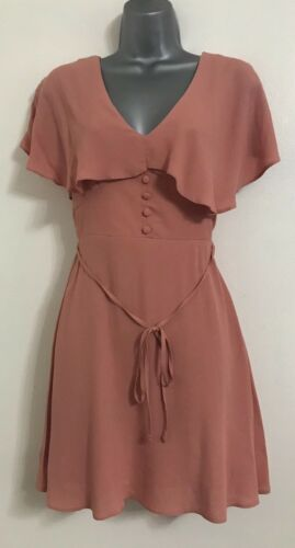 Nouveau Ex River Island Rose à Volants Bardot Off Les Épaules Cape tea dress Taille 6-16