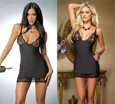 Hot Sexy Linegrie Women Black Nightwear Garter G String Sleepwear Dress Babydoll