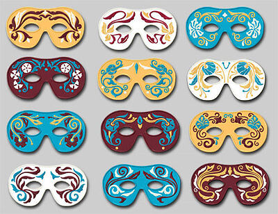 12 Carnival Masks Machine Embroidery Designs set