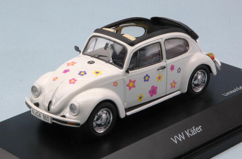 Volkswagen VW Kafer Kafer Kafer Open Air 'BLUMEN' White 1:43 Model 3896 SCHUCO 3e192d