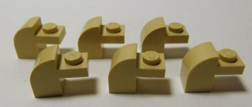 6 Brick 6091 LEGO Parts~ Modified 1 x 2 x 1 1//3 w Curved Top TAN 6091