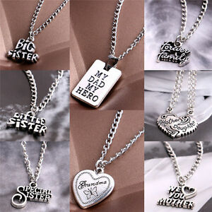 Fashion sister mother daughter dad grandma family pendant necklace image is loading fashion sister mother daughter dad grandma family pendant aloadofball Images