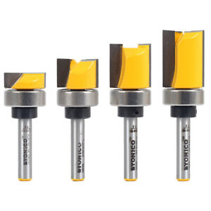 "4 Bit 3/4"" Diameter Flush Trim Router Bit Set - 1/4"" Shank - Yonico 14425q"