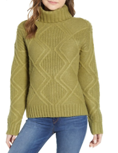 Caslon-Women-Chunky-Cable-Knit-Turtleneck-Sweater-Solid-Green-Sz-Med-Large-NWT