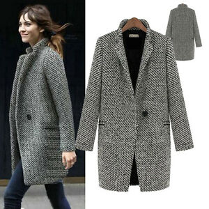 Sale Lady Autumn Winter Casual Business Long Tweed Jacket ...