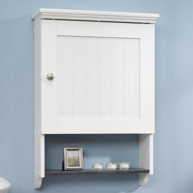 Bathroom Wall Cabinet White Over Toilet Slate Shelf Bead Board Country Paneling