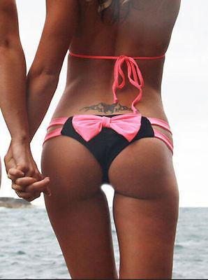 2015 Beach Womens Brazilian Bowknot Cheeky Bikini Bottom Swimwear Bathing Thong