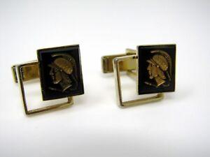 Vintage-Cufflinks-Jewelry-Warrior-Profile-See-Through-Design-Gold-Tone